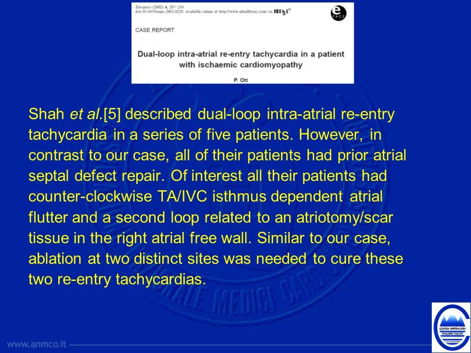 Shah et al.[5] described dual-loop intra-atrial re-entry